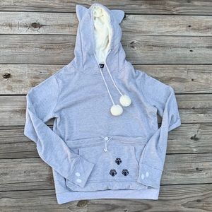 Gray Cat Hoodie With A Pocket For Your Cat